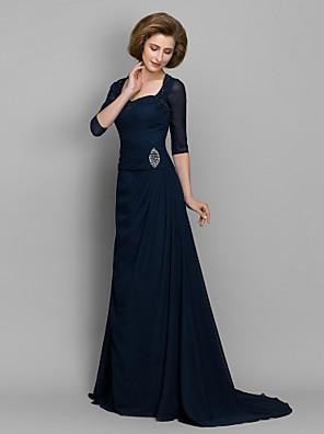 Lanting Bride® A-Linie Šaty pro matku nevěsty Dlouhá vlečka 3/4 délka rukávu Šifón - Korálky / Sklady