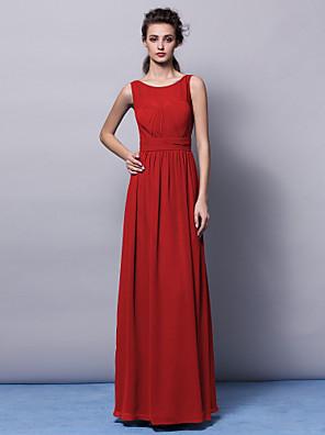 Lanting Bride® עד הריצפה שיפון שמלה לשושבינה - מעטפת \ עמוד עם תכשיטים פלאס סייז (מידה גדולה) / פטיט עם תד נשפך / סרט / סלסולים