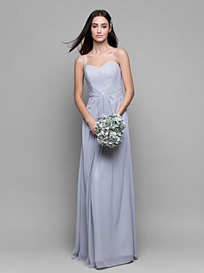 Lanting Bride® Gulvlang Chiffon Brudepigekjole Tube / kolonne Spaghettistropper med Kryds & Tværs
