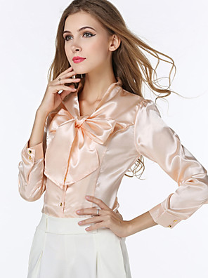 Women's V Neck Bow Shirt , Red/Beige Casual/Work Long Sleeve