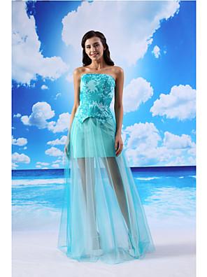 와 TS couture® 공식적인 이브닝 드레스 칼집 / 칼럼 끈이 바닥 길이 오간자 / 새틴