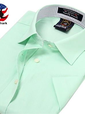 Gestreept / Ruitjes-Informeel / Werk / Formeel / Sport-Heren-Katoen / Polyester-Overhemd-Korte mouw-Roze