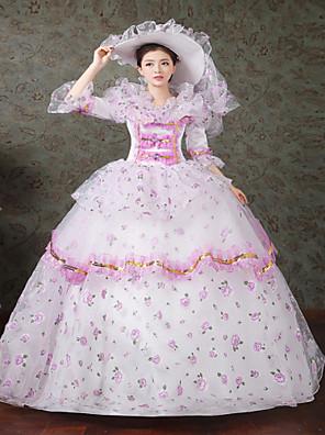 Jednodílné/Šaty Gothic Lolita Steampunk® / Viktoria Tarzı Cosplay Lolita šaty Zelená Tisk / Květinový / Krajka Dlouhé rukávy Long Length