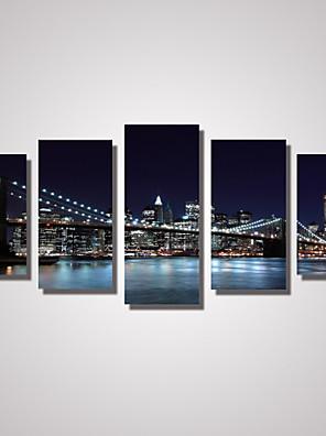 Paesaggio / Architettura / Viaggi Print Canvas Cinque Pannelli Pronto da appendere , Orizzontale