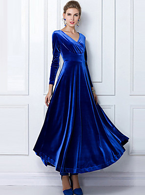Women's Party/Cocktail / Plus Size Dress,Solid Round Neck Maxi Long Sleeve Blue / Red / Black / Green / Purple Others Fall