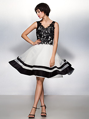 Cocktail Party / Company Party Dress A-line V-neck Knee-length Lace / Organza with Lace
