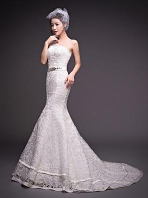 Sereia Vestido de Noiva Cauda Corte Mula Manca Tule com Miçanga