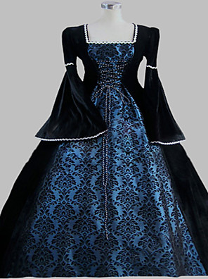Uma-Peça/Vestidos Gótica Steampunk® / Vitoriano Cosplay Vestidos Lolita Tinta Azul Patchwork / Vintage Manga Comprida Comprimento Longo