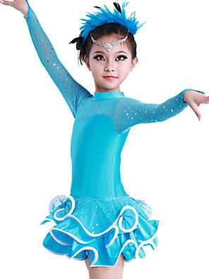 Dança Latina Vestidos Crianças Actuação Algodão / Elastano / Poliéster Cristal/Strass / Amarrotado 1 Peça Manga Comprida VestidosDress