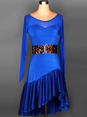 ריקוד לטיני שמלות בגדי ריקוד נשים ביצועים / אימון ספנדקס עטוף / אבנט / סרט 2 חלקים שרוול ארוך חגורת מותניים / שמלותS-XXL:95cm /