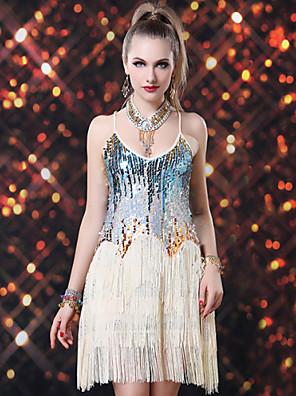 Dança Latina Vestidos Mulheres Actuação Elastano / Lantejoulas Lantejoulas / Borla(s) 1 Peça Sem Mangas Vestidos Dress length : about 92cm