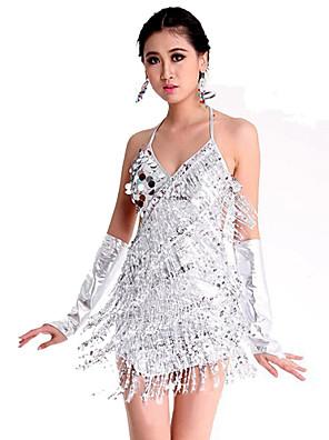Dança Latina Vestidos Mulheres Actuação Elastano / Poliéster Paetês 1 Peça Sem Mangas VestidosSkirt length: 78cm / Suitable for height: