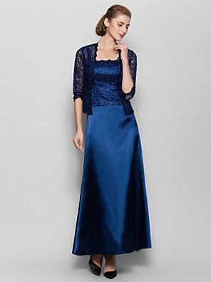 Lanting Bride® Pouzdrové Šaty pro matku nevěsty Po kotníky 3/4 délka rukávu Charmeuse - Krajka