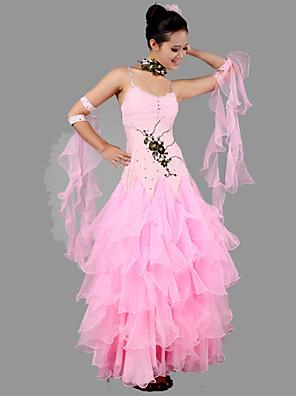 ריקודים סלוניים תלבושות בגדי ריקוד נשים ביצועים ספנדקס / קרפ אפליקציות / קריסטלים / rhinestones / Ruched 4 חלקים בלי שרווליםשמלות /