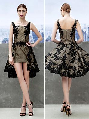 TS couture® 칵테일 파티는 레이스와 라인 스트랩 무릎 길이 레이스 드레스