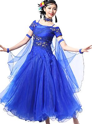 Dança de Salão Roupa Mulheres Actuação Elastano / Renda Cristal/Strass / Paetês 4 Peças Manga Curta Braceletes / Vestidos / Neckwear