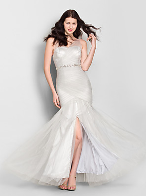 Lanting Bride® עד הריצפה טול שמלה לשושבינה - בתולת ים \ חצוצרה צווארון וי עם פרטים מקריסטל / בד בהצלבה
