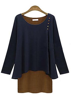 Vrouwen Eenvoudig Alle seizoenen T-shirt,Casual/Dagelijks Kleurenblok Ronde hals Lange mouw Blauw / Grijs Overige Medium