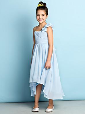 Lanting Bride® א-סימטרי שיפון שמלה לשושבינות הצעירות - אמא ובת גזרת A כתפיה אחת עם פרח(ים) / בד בהצלבה
