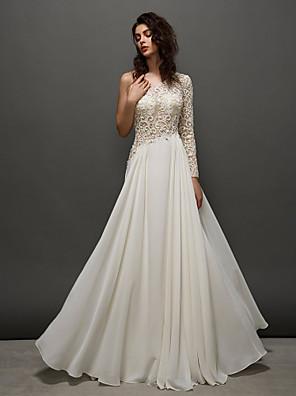 TS couture® 댄스 파티 / 공식적인 저녁 드레스 플러스 사이즈 / A 라인을 레이스 어깨 하나 바닥 길이 레이스 / 조젯 아담 형