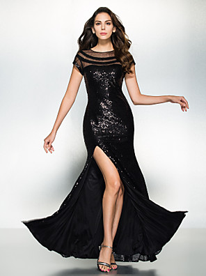 TS Couture® Formal Evening Dress Trumpet / Mermaid Scoop Ankle-length Sequined with Sequins