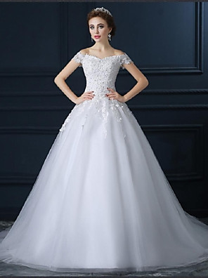 De Baile Vestido de Noiva Cauda Capela Ombro a Ombro Tule com Com Apliques