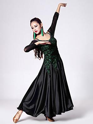 Dança de Salão Vestidos Mulheres Actuação / Treino Renda / Tule / Viscose Cristal/Strass / Renda 1 Peça Manga Comprida Natural Vestidos