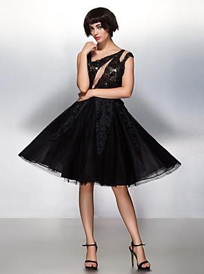 TS couture® 칵테일 파티 / 기업 파티 꽃 (들) / 레이스와 온라인 특종 무릎 길이 레이스 / 얇은 명주 그물 드레스