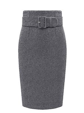 Női Extra méret Szoknyák,Bodycon Egyszínű Hasíték-Magas derekúTérdig érő Poliester Mickro-elasztikus Ősz