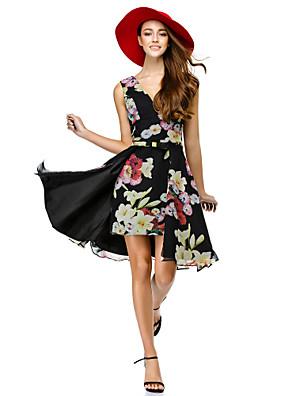 패턴 / 인쇄와 칵테일 파티 couture® TS는 라인 드레스 V 넥 무릎 길이 쉬폰