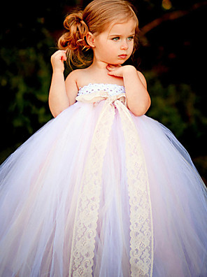 Ball Gown Ankle-length Flower Girl Dress - Tulle / Polyester Sleeveless Strapless with