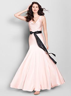 Lanting jersey brudepige kjole ankel-længde - perlemors-pink trompet / havfrue v-hals