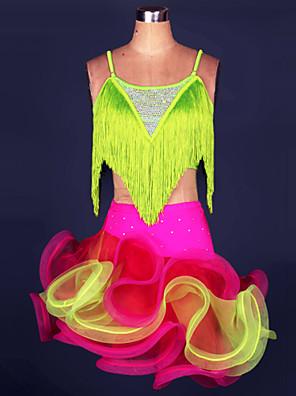 ריקוד לטיני תלבושות בגדי ריקוד נשים ביצועים ספנדקס / פוליאסטר גדיל (ים) 2 חלקים חצאית / עליון S-4XL:95cm Skirt:43cm