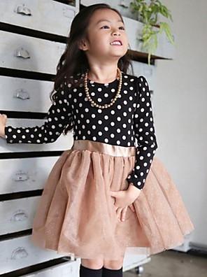 Girl's Blue / Pink Dress , Dot Polyester Spring / Fall