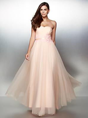공식적인 저녁 couture® TS는 아플리케와 줄 끈이 발목 길이 레이스 / 얇은 명주 그물 드레스