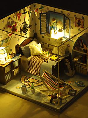 צעצוע מתנה רומנטי מודל מדריך לבובות עץ חג המולד DIY כוללים כל מנורת אורות רהיטים הובילה