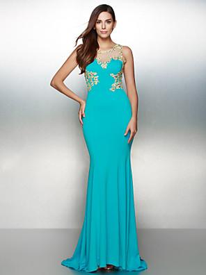 아플리케와 TS couture® 공식적인 이브닝 드레스 트럼펫 / 인어 특종 청소 / 브러쉬 기차 저지
