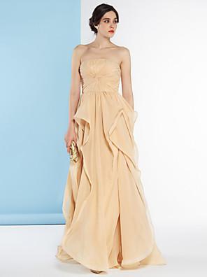 lanting는 라인 웨딩 드레스 층 길이 끈 쉬폰 신부