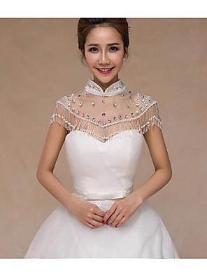 Wraps Wedding Mantelline Senza maniche Organza / Paillettes Bianco Matrimonio / Da sera DolcevitaCon perline / Con cristalli / Con fiori