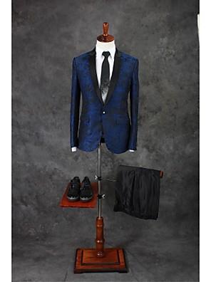 Suits Moderno Notch/ Paletó Comum 1 Butão Misto de Algodão Desenhos 2 Peças Azul Royal Lapela Reta Duas Pregas Duas PregasBotões / Bolsos
