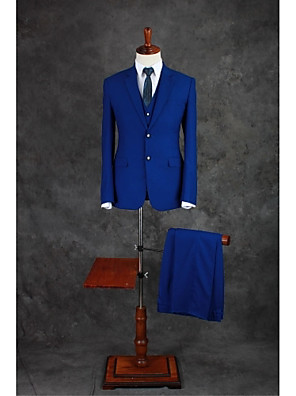 Suits Moderno Notch/ Paletó Comum 2 Butões Misto de Algodão Cor Solida 3 Peças Azul Royal Lapela Reta Duas Pregas Azul Duas Pregas Botões