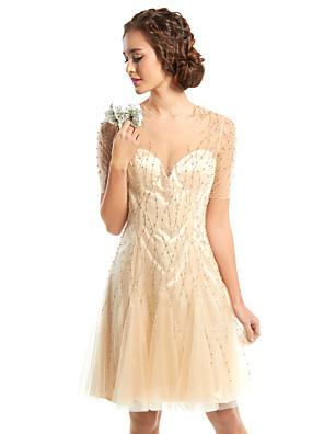 칵테일 파티 couture® TS는 구슬과 온라인 보석 무릎 길이 얇은 명주 그물 드레스