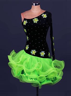 Latin Dance Dresses Women's Performance Spandex / Polyester Ruffles 1 Piece Fuchsia Latin Dance / Samba Spring, Fall, Winter, Summer Dress