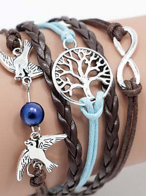 multilayer vogel& leven boom weven armband, blauw + bruin inspirerende armbanden