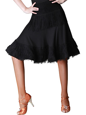 Latinské tance Spodní část oděvu Dámské Výkon Krajka / Süt Filtresi Krajka Jeden díl Přírodní Sukně M:51cm-53cm L:51cm-53cm