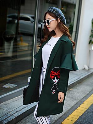 DABUWAWA Women's Character Green Coat , Casual Long Sleeve Polyester / Spandex