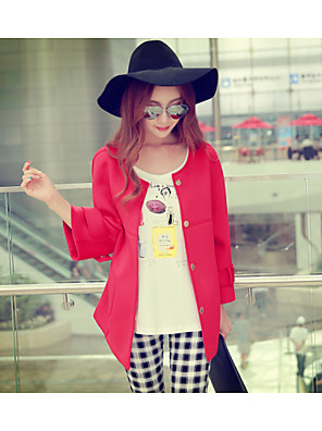 Women's Solid Red Coat , Casual / Day Long Sleeve Polyester / Spandex