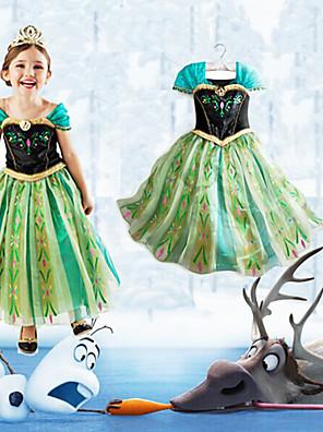 Fantasias de Cosplay Princesa / Conto de Fadas Cosplay de Filmes Verde Patchwork Vestido Dia Das Bruxas / Natal / Ano Novo CriançaAlgodão