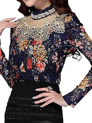 Women's Stand Lace/Mesh T-shirt , Chiffon Long Sleeve