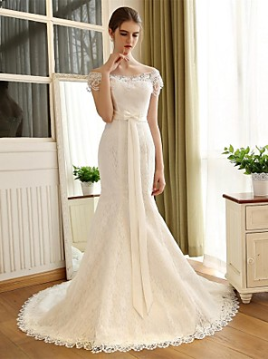 Trumpet/Mermaid Wedding Dress - White Chapel Train Off-the-shoulder Lace / Satin